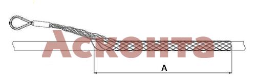 Чертеж диэлектрического (полимерного) кабельного чулка ДКЧБ50/1 с одной петлей