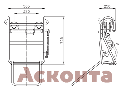 CRS010 Инспекционная тележка с подставкой для ног