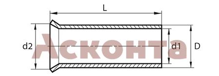 26412 НШВ 50-20 Наконечник штыревой втулочный неизолированный 50,0мм² 100шт ПЕРЕДОВИК