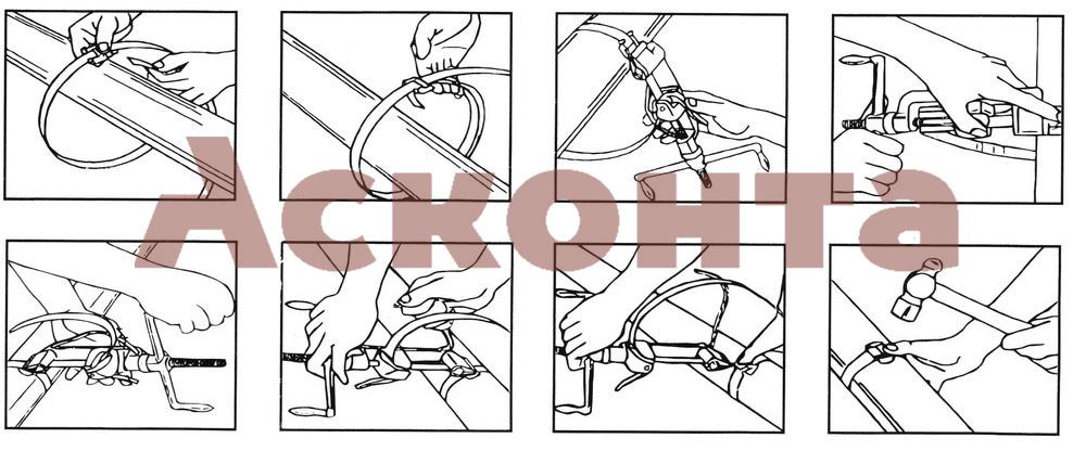 Краткий порядок установки кронштейна на опору при помощи бандажной ленты