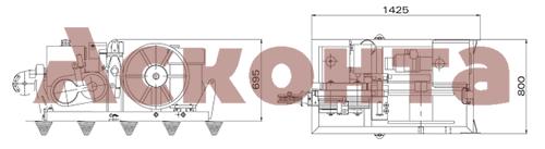 Габаритные размеры гидравлической натяжной машины ARS200