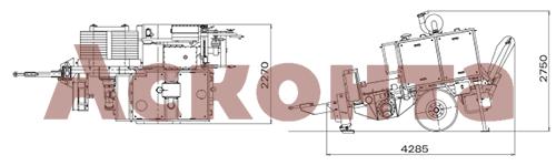 Размеры гидравлической натяжной машины ARS700