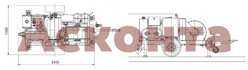 Размеры гидравлической натяжной машины ARS404