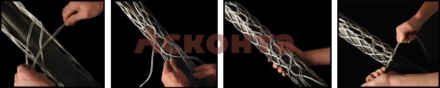 Установка разъемного кабельного чулка КЧР80/1 на кабель