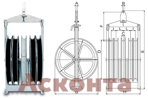 Размеры пятирядного раскаточного ролика CAQ814