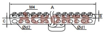 Шина нулевая с 1 изолятором (латунь)