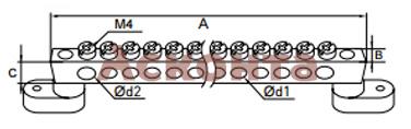 Шина нулевая с 2мя изоляторами (латунь)