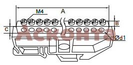 Шина нулевая с изолятором на DIN-рейку (латунь)