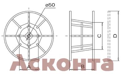 BOC040 Разборный стальной барабан для троса лидера 1100мм